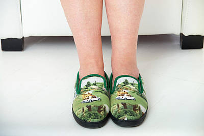 Bizarre Photograph - Person Wearing Slippers by Lea Paterson