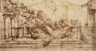 Staircase Drawing - Perspective Study For The Background Of The Adoration Of The Magi by Leonardo da Vinci