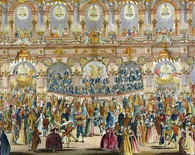 Festival Drawing - Perspective View Of The Ballroom by French School