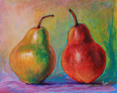 Pears Painting - Persuasive Pear by Eve  Wheeler