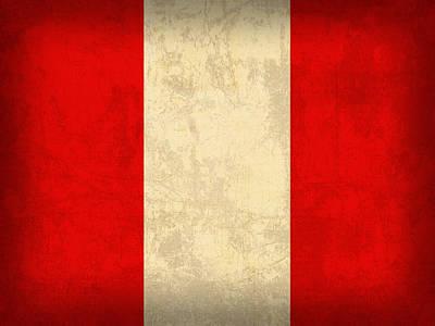 Peru Mixed Media - Peru Flag Vintage Distressed Finish by Design Turnpike
