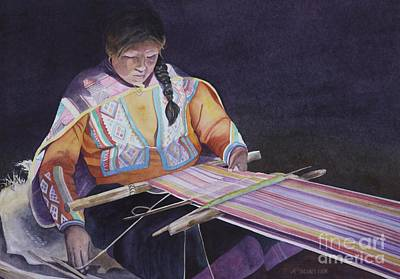 Peruvian Painting - Peruvian Weaver by Amanda Schuster