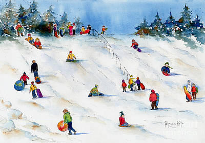 Snowboarding Painting - Pest Hill by Pat Katz