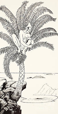 Pen And Ink Drawing Drawing - Pestonjee Bomonjee Sitting In His Palm-tree And Watching The Rhinoceros Strorks Bathing by Joseph Rudyard Kipling