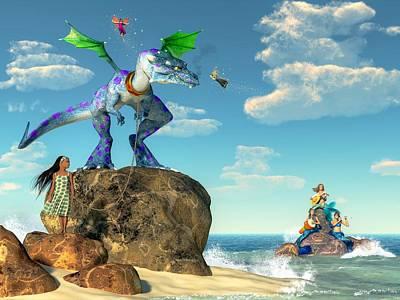 Mermaid Digital Art - Pet Dragon by Daniel Eskridge