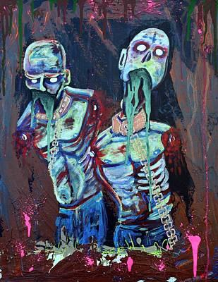 Zombie Painting - Pet Walkers by Laura Barbosa