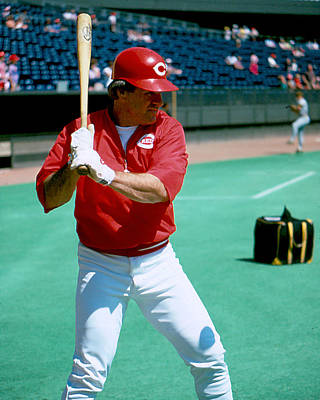 Slugger Photograph - Pete Rose Warming Up by Retro Images Archive