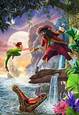 Crocodile Painting - Peter Pan And Captain Hook by Steve Crisp