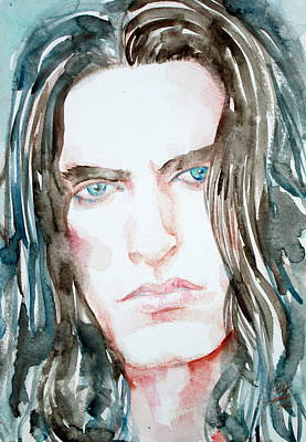 Peter Steele Watercolor Portrait Print by Fabrizio Cassetta