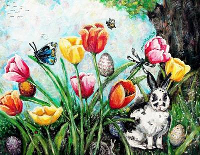 March Hare Painting - Peters Easter Garden by Shana Rowe Jackson