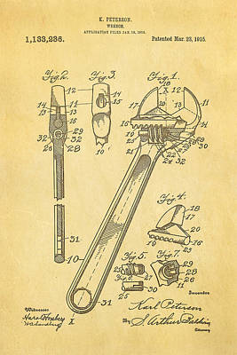 Peterson Wrench Patent Art 1915  Print by Ian Monk