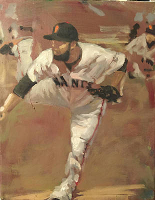 Baseball Art Painting - Petit Delivery by Darren Kerr