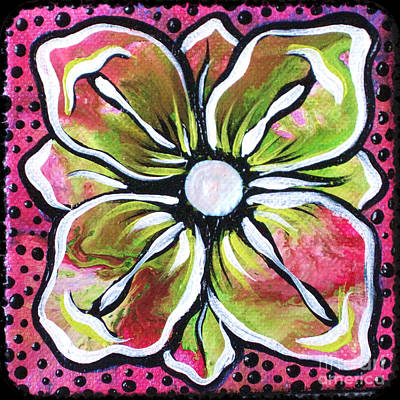 Lime Green Painting - Petit Flower by Shadia Derbyshire