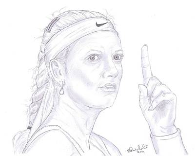 Steven White Drawing - Petra Kvitova by Steven White