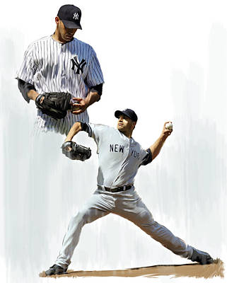 New York Yankees Drawing - Pettitte  Andy Pettitte by Iconic Images Art Gallery David Pucciarelli