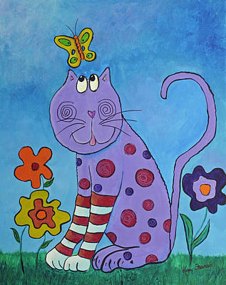 Striped Butterfly Painting - Petunia Wears Her Striped Socks by Kenny Francis