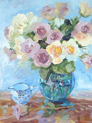 Pewter And Cream Roses In Murano Vase Print by Elinor Fletcher
