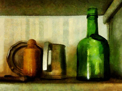 Glass Photograph - Pewter Mug And Green Bottle by Susan Savad