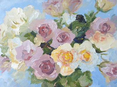 Pewter Pink And Yellow Roses.  A Close-up Study. Print by Elinor Fletcher