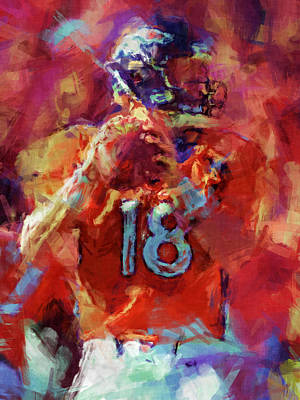 Peyton Manning Abstract 3 Print by David G Paul