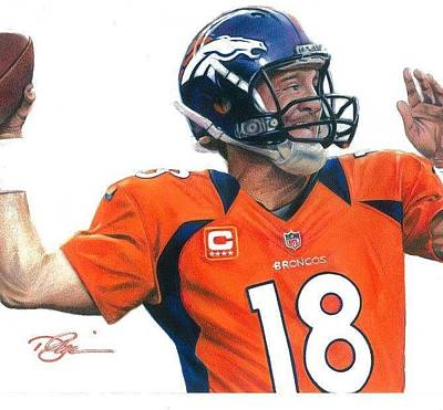 Peyton Manning Drawing - Peyton Manning by Darren  Chilton