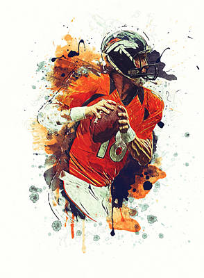 Division Digital Art - Peyton Manning by Taylan Soyturk