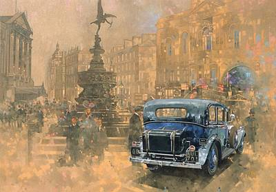 Phantom In Piccadilly Oil On Canvas Print by Peter Miller