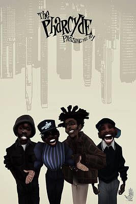 Hip Hop Drawing - Pharcyde -passing Me By 1 by Nelson dedos Garcia
