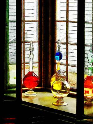 Pharmacist - Colorful Bottles In Drug Store Window Print by Susan Savad