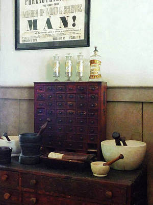 Pharmacist - Desk With Mortar And Pestles Print by Susan Savad