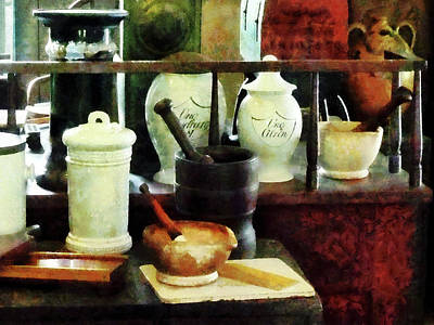 Pharmacist - Mortar Pestles And White Jars Print by Susan Savad