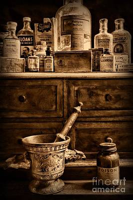 Pharmacist  Old Medicine In Black And White Print by Paul Ward