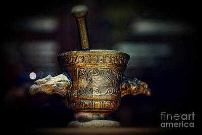 Pharmacy Brass Mortar And Pestle With Eagle Handles Print by Paul Ward
