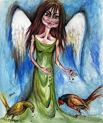 Pheasant Drawing - Pheasant Angel by Angel  Tarantella