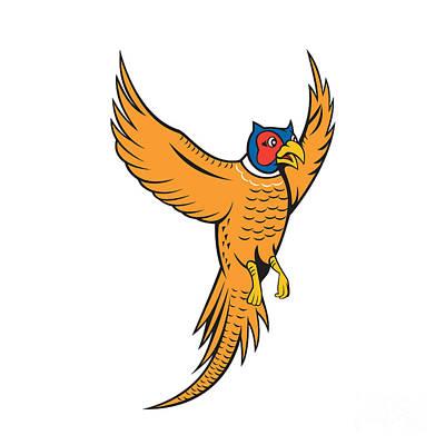 Pheasant Digital Art - Pheasant Bird Fowl Flying Cartoon by Aloysius Patrimonio