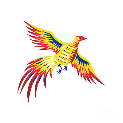 Pheasant Digital Art - Pheasant Bird Fowl Flying Retro by Aloysius Patrimonio