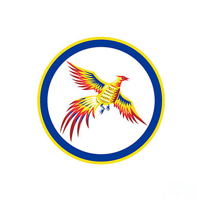 Pheasant Digital Art - Pheasant Bird Fowl Flying Woodcut Circle by Aloysius Patrimonio
