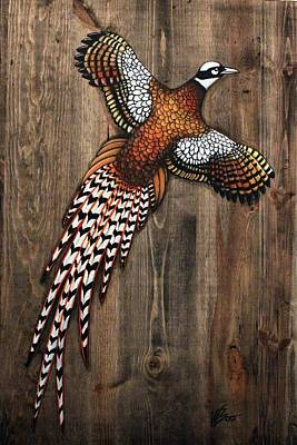 Pheasant Mixed Media - Pheasant On Weathered Wood by Wendy Boomhower
