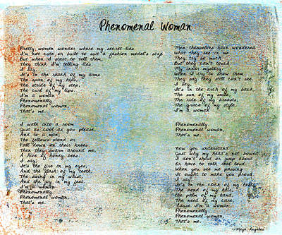 Paulette Wright Digital Art - Phenomenal Woman - Blue Rustic by Paulette B Wright