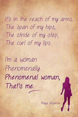 Phenomenal Woman Quotes 1 Print by Nishanth Gopinathan