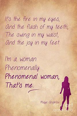 Phenomenal Woman Quotes 2 Print by Nishanth Gopinathan