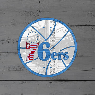 Philadelphia Mixed Media - Philadelphia 76ers Basketball Team Retro Logo Vintage Recycled Pennsylvania License Plate Art by Design Turnpike