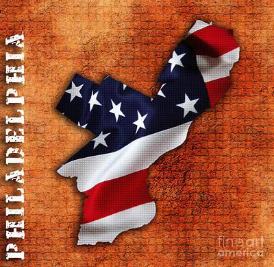 Philadelphia American Flag State Map Print by Marvin Blaine