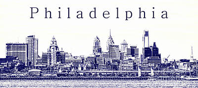Philadelphia Skyline Photograph - Philadelphia Blueprint  by Olivier Le Queinec