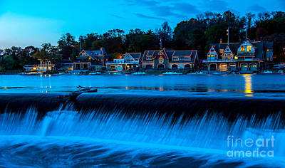 Philadelphia Boathouse Row At Sunset Print by Gary Whitton