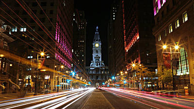 Cityhall Photograph - Philadelphia City Hall -- Night by Stephen Stookey