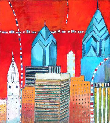 Philadelphia Cityscape With Red Print by Habib Ayat