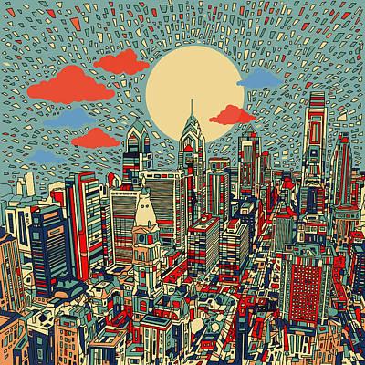 Philly Skyline Painting - Philadelphia Dream 2 by Bekim Art