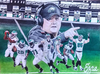 Philadelphia Eagles Chip Kelly Mural Original by Ezra Strayer