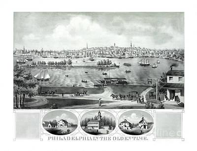 Philadelphia History Drawing - Philadelphia In The Olden Time - 1875 by Pablo Romero
